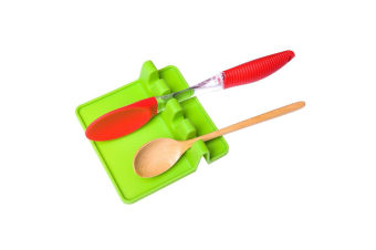 Silicone Rack Cover Lid Spoon Spatula Colander Pad Rest Stand Kitchen Storage Organizer Tableware Green