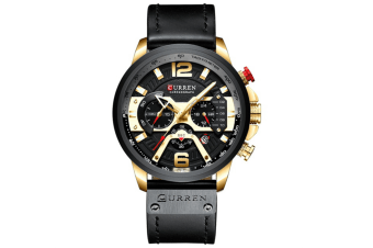 CURREN New Fashion Mens Watch Leather Luxury Brand Sports and Leisure Quartz Chronograph Waterproof Watch-GOLD BLACK