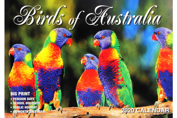 Birds Of Australia - 2020 Rectangle Wall Calendar 16 Months New Year Decor Gift