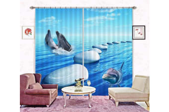 3D Blue Sea Dolphins 2238 Curtains Drapes, 320cmx270cm(WxH) 126''x 106''