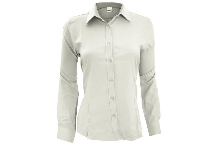 Henbury Womens/Ladies Wicking Long Sleeve Work Shirt (White) (3XL)