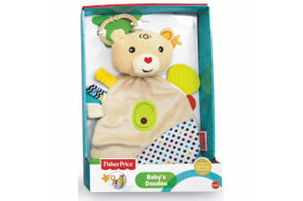 Fisher Price Bear Baby Doudou Educational w/Clip-on Ring/Teether Toy 0m+