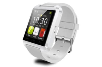 "Bluetooth V3.0 Smart Watch 1.48"" Touch Lcd Rechargeable Handsfree Speaker White"