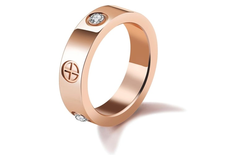 Cross & Spark Promise Ring-Rose Gold/Clear Size US 8