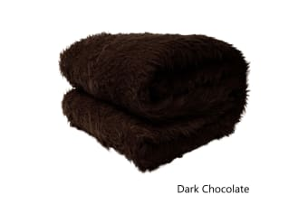 Short Faux Lamb Fur Throw Rug Dark Chocolate by Artex