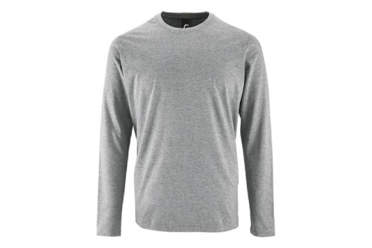 SOLS Mens Imperial Long Sleeve T-Shirt (Grey Marl) (L)