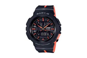 Casio Baby-G Analog Digital Watch with Lap Memory & Resin Band - Black/Orange (BGA240L-1A)