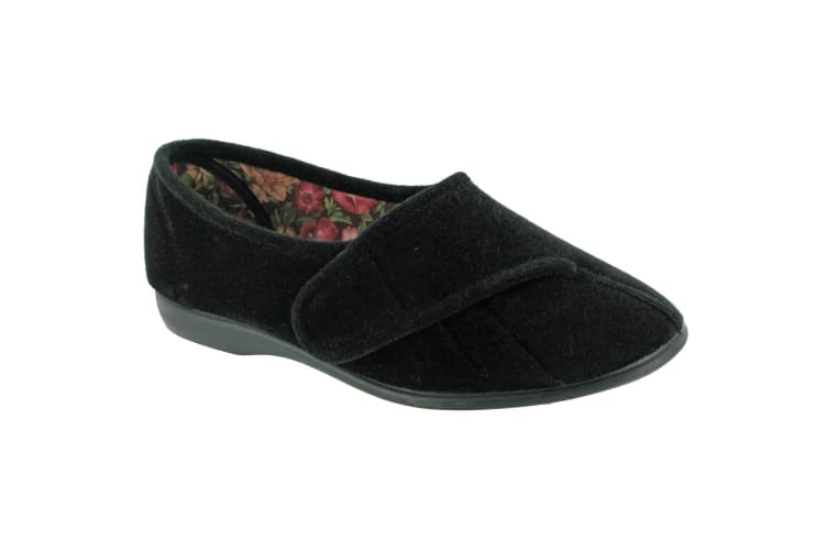 GBS Womens/Ladies Audrey Touch Fasten Slippers (Black) (6 UK)