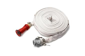 PROTEGE Fire Fighting Hose - 36m 1.5 Inch Lay Flat Canvas Adjustable Nozzle