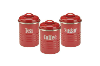 Typhoon 3pc Red Vintage Tin Tea Coffee Sugar Canister Set Jar Storage Kitchen