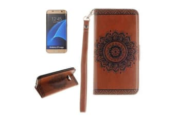 For Samsung Galaxy S7 EDGE Wallet Case Embossed Mandala Leather Cover Brown