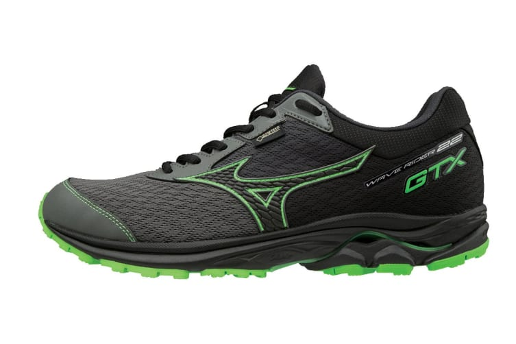 Mizuno Men's WAVE RIDER 22 GTX Running Shoe (Gunmetal/Black/Green Slime, Size 9.5 US)
