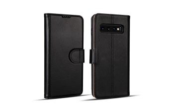 For Samsung Galaxy S10 PLUS Case  Black Cowhide Genuine Leather Wallet Cover