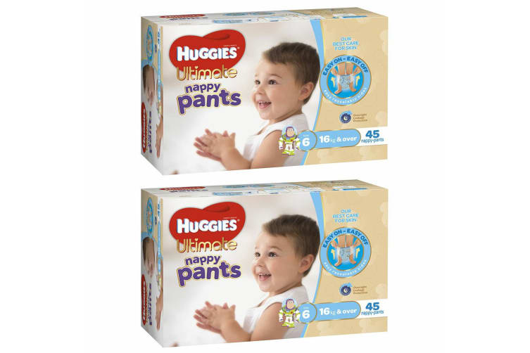 90PK Huggies Ultimate Nappy/Diapers Pants Boys/Infant/Toddler Junior Size 6 16kg