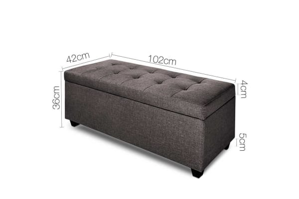 Faux Linen Ottoman Storage Foot Stool Large (Brown)