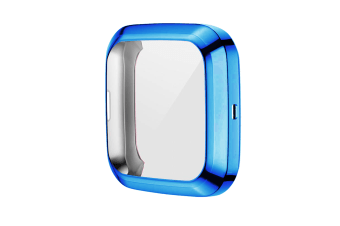 Select Mall TPU Shell Case Screen Protector Frame Cover Bumper for Fitbit Versa 2 Watch TPU Protect Protective Durable Housing-Blue