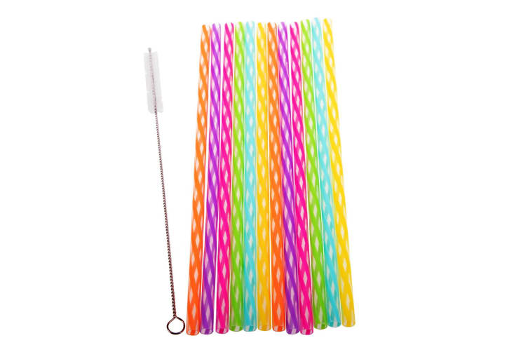 Appetito Set 24 Reusable Rainbow Party Straws + Cleaning Brush