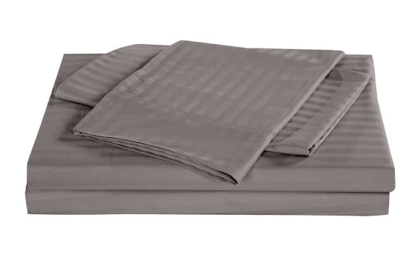 Royal Comfort Kensington 1200TC 100% Egyptian Cotton Stripe Bed Sheet Set (Queen, Charcoal)