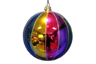 Jingles Rainbow Glass Christmas Bauble (Multicoloured) (12cm)