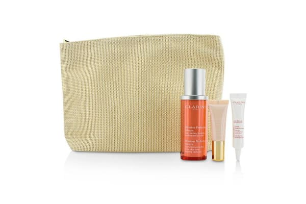 Clarins Skin-Perfecting Expert Set: Mission Perfecting Serum 30ml + UV Plus SPF 50 10ml + Instant Light Base #01 10ml + Bag (3pcs+1bag)