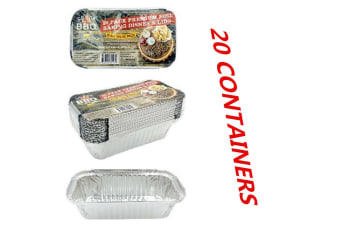 20 X Aluminum Foil Trays 20.5x11x5.5CM BBQ Disposable Roaster takeaway Oven Baking Party with Lids
