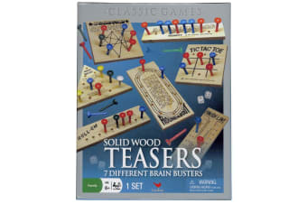 Solid Wood Brain Teasers - 7 Different Brain Busters - By Cardinal Games