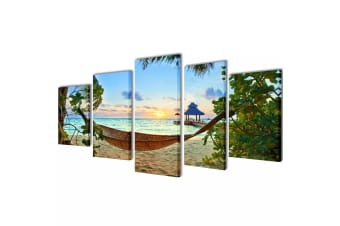 vidaXL Canvas Wall Print Set Sand Beach with Hammock 100 x 50 cm