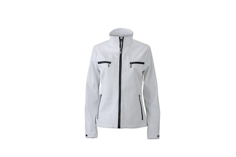 James and Nicholson Womens/Ladies Tailored Softshell Jacket (White) (XL)