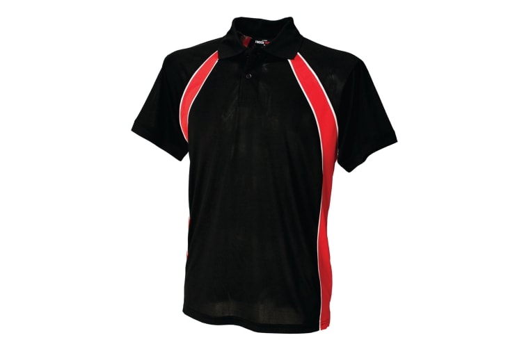 Finden & Hales Mens Jersey Team Sports Polo T-Shirt (Black/Red/White) (S)