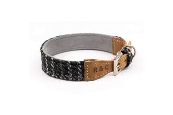 Ralph & Co Tweed And Leather Ascot Dog Collar (Black Tweed) (Small (25 x 31cm))