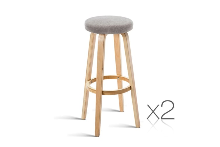Artiss Set of 2 Wooden Bar Stools - Taupe
