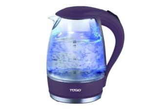 TODO 1.7L Glass Cordless Kettle 2200W Blue Led Light Kitchen Water Jug Purple