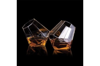 Set of 2 Diamond Tumblers | glasses glass whisky shot