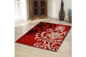 Stunning Thick Patterned Rug Red