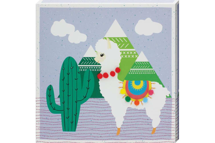 Grindstore Cacti Llama Canvas Print (Lilac) (One Size)