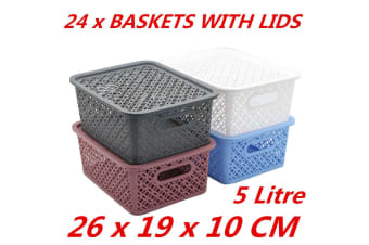 24 x Plastic Storage Baskets with Lid Home Office Container Box 26x19x10cm