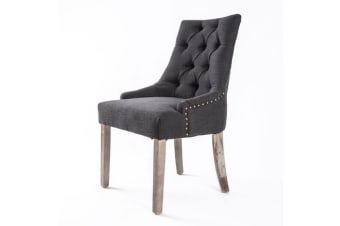 French Provincial Oak Leg Chair AMOUR - BLACK