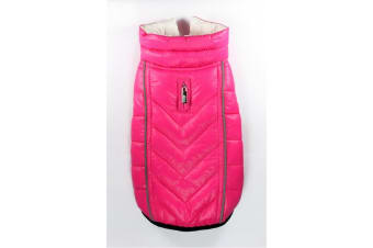 Hip Doggie Featherlite Reversible Touch Fastening Puffer Dog Jacket (Pink/White)