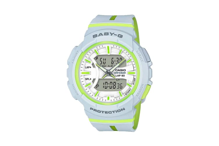 Casio Baby-G Analog Digital Female Watch with Resin Band - White/Lime (BGA240L-7A)