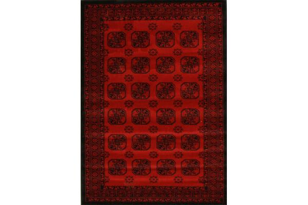 Classic Afghan Pattern Runner Red 300x80cm