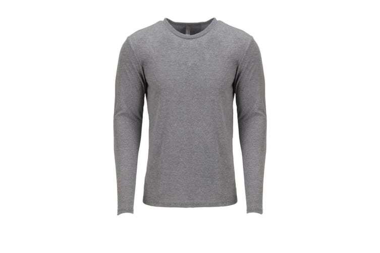Next Level Adults Unisex Long Sleeve Tri-Blend Crew T-Shirt (Premium Heather Grey) (XXL)