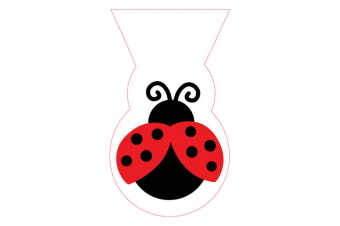 Creative Converting Shaped Ladybird Cello Plastic Treat Bags (Pack Of 12) (White/Black/Red)