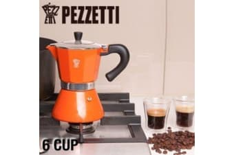 6 Cup Pezzetti Espresso Coffee Maker Aluminium Perculator Stove Top Moka Orange