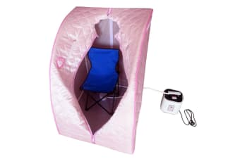 Portable Steam Sauna Tent Pink with Chair & Hat for Detox/Weight Loss
