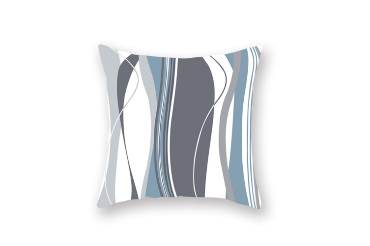 3Pcs Home Geometry Line Pillow Cover Living Room Office Sofa Cushion Cover - 6 Blue 45*45Cm
