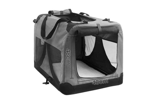 Extra Large Portable Soft Pet Dog Crate Cage Kennel (Grey)