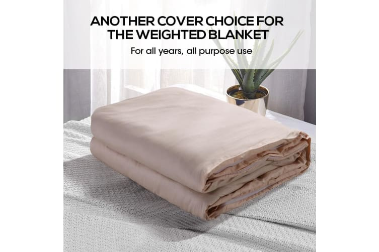 Dreamz 100% Cotton Zipper Cover for Weighted Blanket Washable Protector 3 Colors  -  Beige121x91cm