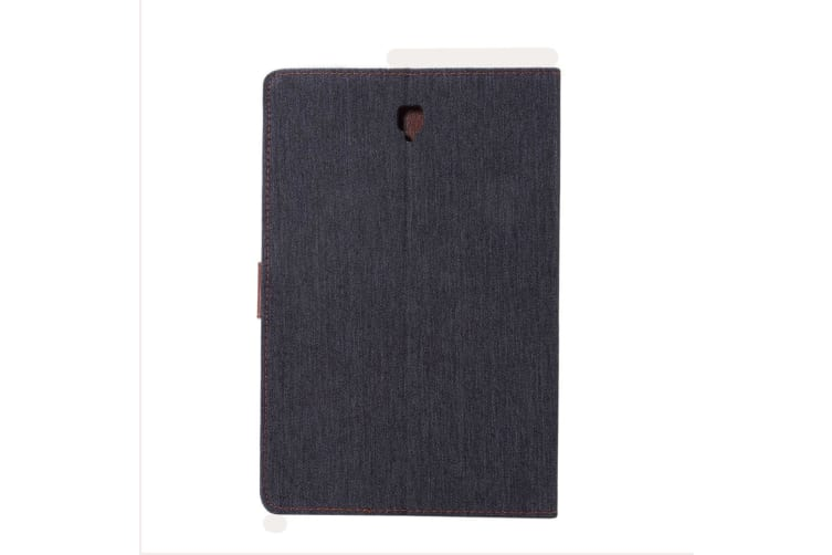 For Samsung Galaxy Tab S4 10.5in Case Black Denim Texture PU Leather Folio Cover