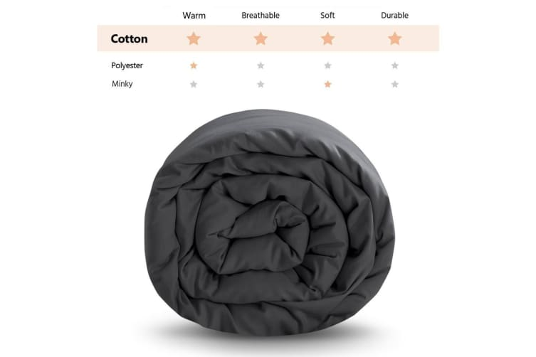 Dreamz 202X151CM Grey Cotton Zipper Weighted Blanket Cover Washable Protector