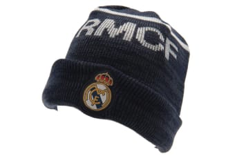 Real Madrid FC Official Adults Unisex Knitted Hat (Navy)